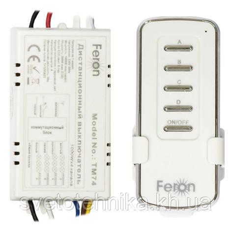 Дистанционный выключатель с пультом ДУ Feron TM-74 (4 канала по 1000Вт)