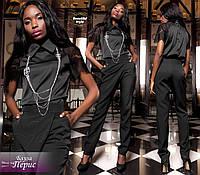 Чёрная шёлковая блузка с кружевными рукавами Перис