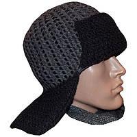 Мужская вязаная зимняя шапка - ушанка с кожаными вставками