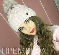 Женская модная вязаная теплая шапка на флисе с мехом (3 цвета) пудра, единый