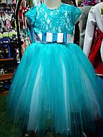 бальное платье бирюза для девочки до 4 - 8 лет, фото 1