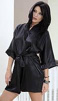Атласный халат с широким рукавом