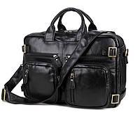 """Сумка мужская портфель рюкзак """"Portfolio backpack black"""" из натуральной кожи, фото 1"""