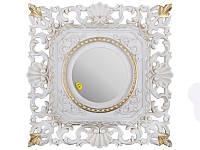 """Зеркало настенное 37х37 см. """"Акцент"""" из полистоуна, бело золотистое Euromarchi"""