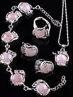 Набор украшений из розового кварца
