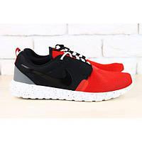 Мужские кроссовки красно черные с серой вставкой на белой подошве