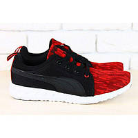 Мужские кроссовки красные с черным на белой подошве облегченные