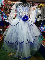 cb38b708275 Белое с синим бальное платье для девочки до 6 - 10 лет