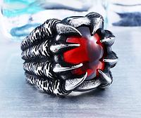 Мужское кольцо перстень сталь 316L Когти Глаз Дракона
