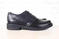 Женские туфли, кожаные, на шнурках, черные