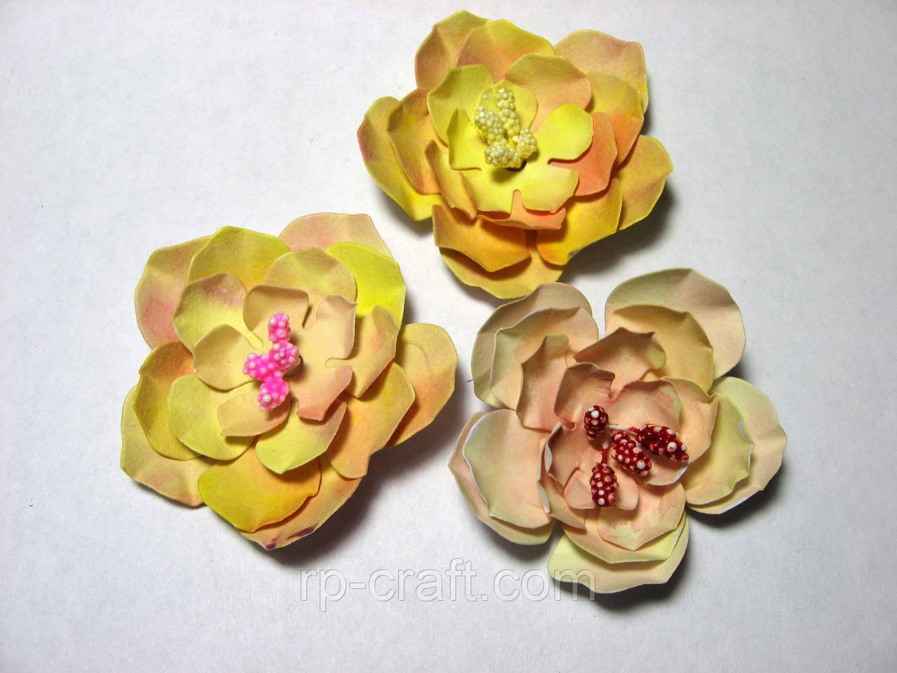 Набор бумажных цветов 3D, 3 штуки, около 55 мм