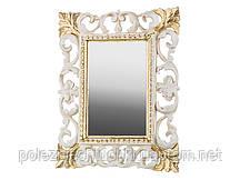 """Зеркало настольное 18х23 см. """"Акцент"""" прямоугольное, из полистоуна, бело золотистое Euromarchi"""