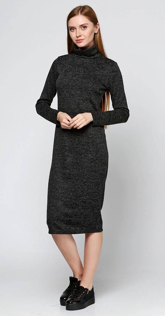 Платье под горло черное