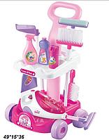 Детский игровой набор для уборки с тележкой с пылесосом A5928 розовая ***