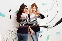 Вязаный свитер в цветную полоску. длинный рукав,60% ACRILYC\АКРИЛ 40% COTTON\ХЛОПОК made in Turkey вмаг №8079