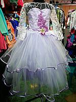 Белое с сиреневым бальное платье для девочки до 6 - 10 лет, фото 1