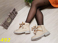 Ботинки тимбер с бантиками светло-серые зима, фото 1