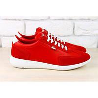 Женские кроссовки, красные,  с комбинированной кожи Lacoste с белыми шнурками и белой подошвой