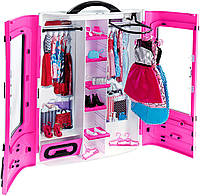 Шкаф-чемодан с одеждой куклы Барби розовый (Barbie Fashionistas Ultimate Closet)