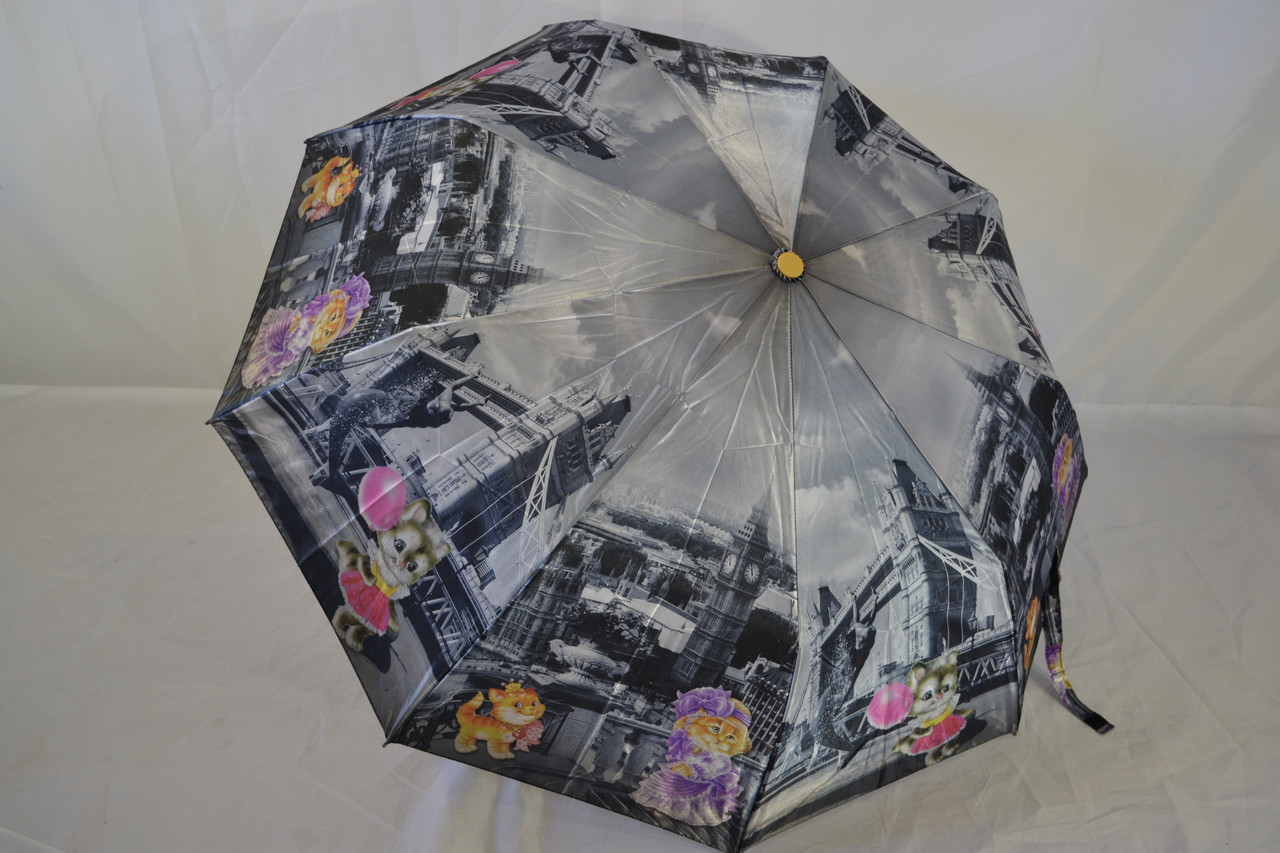 """Жіночий напівавтомат зонт з кішками від фірми """"NOVEL""""."""