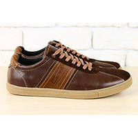 Кеды мужские коричневые  кожаные на шнурках 44