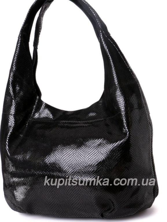 da46b897c0e4 Женская сумка чёрного цвета из натуральной замши с лазерным покрытием -  Интернет-магазин стильных сумок