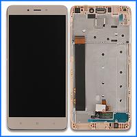 Дисплей (экран) Xiaomi Redmi NOTE 4 ксиоми с тачскрином и передней панелью в сборе, цвет золотой, фото 1