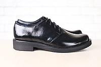Женские туфли, лаковая кожа, на шнурках, черные