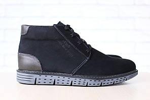 Мужские зимние, ботинки, из натурального нубука черные, на шнурках, на меху