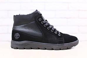 Мужские зимние, ботинки, комбинированные: натральная кожа и замша, на меху, на шнурках