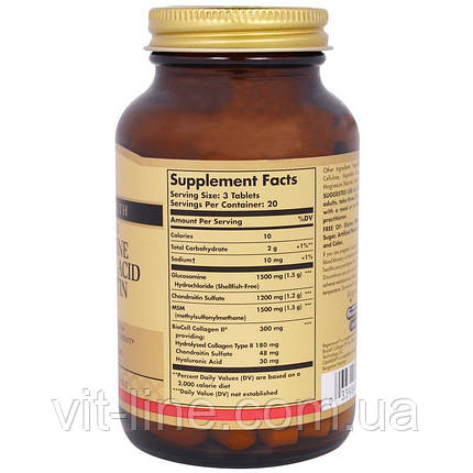 Solgar, Глюкозамин гиалуроновая кислота хондроитин MSM, 60 таблеток, фото 2
