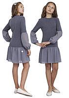 Платье  детское с длинным рукавом   М -1112  рост 128-170 трикотажное , фото 1