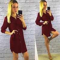 """Женское платье-рубашка на пуговицах длинный рукав """"Тоскана"""" бордовый"""