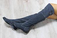 Зимние замшевые серые сапоги-ботфорты на молнии