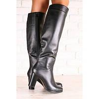 Демисезонные женские сапоги, кожаные, черные, на байке, на каблуке