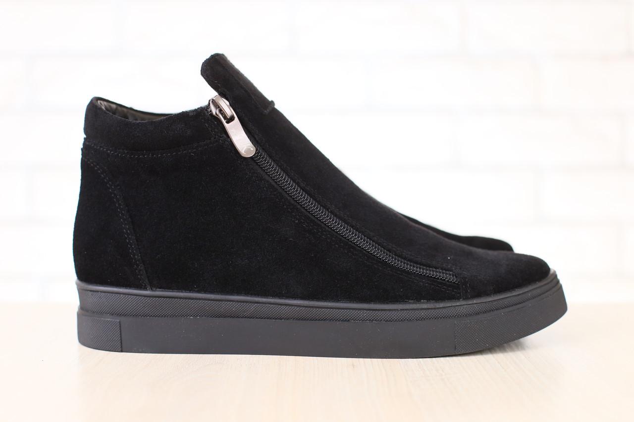 Женские полуботинки, демисезонные, черные, замшевые, на замках - Интернет-магазин обуви Vzuto в Чернигове