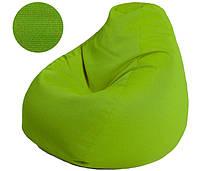 Кресло-груша в зеленом цвете, ткань Рогожка Queens (размеры: S, M, L)