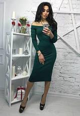 """Облегающее платье с открытыми плечами """"Candys"""" темно-зеленый, фото 2"""