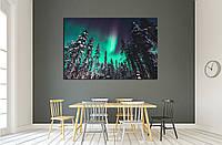 Картина - северное сияние в лесах Скандинавии