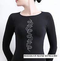 Бесшовный женский джемпер с круглым вырезом MAGLIA SCOLLO TONDO MANICA LUNGA STRASS 003