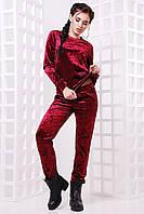 Женский модный костюм из мраморного велюра (3 цвета)