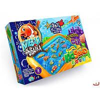 Большая настольная игра 2 в 1 dankotoys krks-01-01 Клевая рыбалка и Кинетический песок kidsand