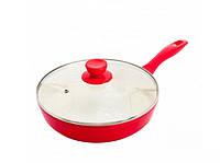 Сковорода для блинов для индукционной плиты 22*4,5 MK-FP4322C Red