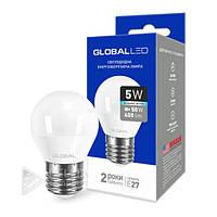 Светодиодная лампа Global E27 - 5w, 4100k, 460 Lm, шар, матовая, энергосберегающая лампочка Global E27, Лампа LED, Лампочки, LED