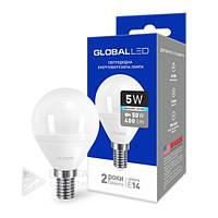 Светодиодная лампа Global E14 - 5w, 4100k, 400 Lm, обзор 270*, шар, матовая, лед лампа Global E14