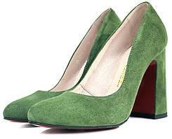 Женские туфли Lider зеленого цвета на широком каблуке.
