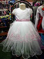 Белое с голубой вышивкой бальное платье для девочки на 3 - 5 лет
