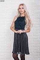 Платье женское плиссе с кружевной спинкой р.44-48 AR84290-3
