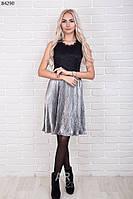 Платье женское плиссе с кружевной спинкой р.44-48 AR84290-5