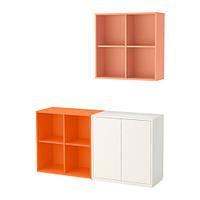 Сочетание базовых шкафов, белый / оранжевый, оранжевый, 140x35x182 см IKEA EKET 291.908.96